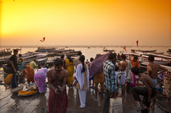 Varanasi. INDIA-APRIL 18: Crowding of local Indian people live their morning life on Ganga riverbank. The most holy river of India and Hindu culture on April Royalty Free Stock Photo