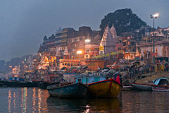 Varanasi (Benares). Night view of varanasi from the gange river, India Royalty Free Stock Image