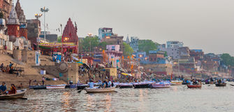 Varanasi (Benares). The Hindu Ghats on the River Ganges in Varanasi in India Stock Photo
