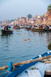 Varanasi (Benares). The Hindu Ghats on the River Ganges in Varanasi in India Royalty Free Stock Image