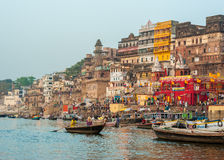Varanasi (Benares). The Hindu Ghats on the River Ganges in Varanasi in India Stock Images