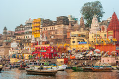 Varanasi (Benares). The Hindu Ghats on the River Ganges in Varanasi in India Royalty Free Stock Photo