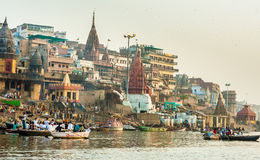Varanasi (Benares). The Hindu Ghats on the River Ganges in Varanasi in India Royalty Free Stock Photography