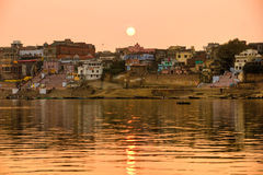 Varanasi (Benares) Uttar Pradesh, India. Varanasi (Benares) at sunset, uttar Pradesh, from the gange river, India Stock Images