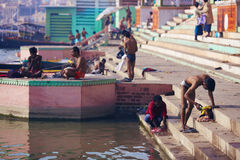 Varanasi besides the river Ganges early morning Royalty Free Stock Image