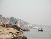 Varanasi - boating on Ganges. Varanasi - boat on sacred river Ganges Royalty Free Stock Photo