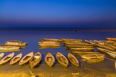 Varanasi boats in sunrise. Sunrise on the Gangas river in Varanasi Stock Photography