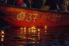 Varanasi burning candles. Floating in the Ganges river, India Stock Photos