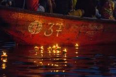 Varanasi burning candles Stock Photos