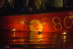 Varanasi burning candles. Floating in the Ganges river, India Stock Photo