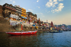 Varanasi city. Colorful ancient city of Benares along the bank of river Ganges Royalty Free Stock Image