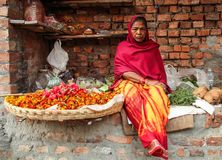 Woman selling flowers and herbs in the early morning, in Varanasi Benares, Uttar Pradesh, India stock images