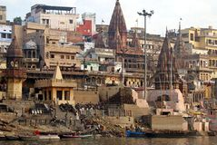 Varanasi cremation ghat Stock Photo
