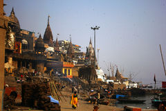 Varanasi cremation ghat Royalty Free Stock Photos