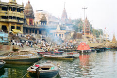 Varanasi Cremation Ghat, India. Cremation ghat on the shore of the Ganges river in Varanasi, India royalty free stock photo