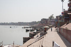 Varanasi the Ganges ghats view. Holy river in Varanasi, Uttar Pradesh, India Royalty Free Stock Photography