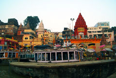 Varanasi From The Ganges River Stock Photos