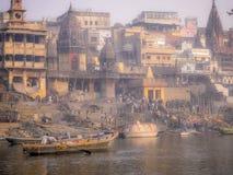 Varanasi Gangeset River, Indien arkivfoto