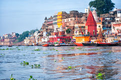 Varanasi ghats from Ganges river, India. View of Varanasi ghats from Ganges river, India royalty free stock images