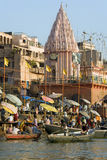 Varanasi Ghats indou - Inde Images libres de droits