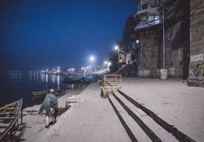 Varanasi ghats at night Stock Photos