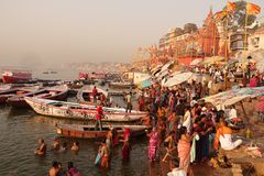 Varanasi Ghats. It's increfible to see the life in the early morning at the Ghats of Varanasi as people wash and perform pujas in the holy ganges Stock Images