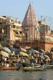 Varanasi Hindoese Ghats - India Royalty-vrije Stock Afbeeldingen