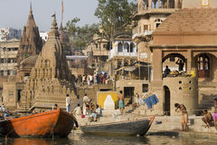 Varanasi Hindoese Ghats - India Royalty-vrije Stock Foto