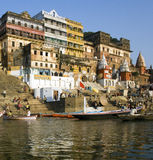 Varanasi - Hindu Ghats - India. The Hindu ghats on the banks of the Holy River Ganges (Ganga) in Varanasi (Benares) in the Uttar Pradesh region of northern India Royalty Free Stock Photography