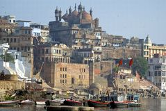 Varanasi historical buildings and ghat Royalty Free Stock Images