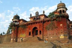 Varanasi historical buildings and ghat Royalty Free Stock Photo