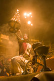 VARANASI, INDIA – DEC, 2015: A Holy Banares Ghats. An unidenti. INDIA, DEC: A Holy Banares Ghats. An unidentified Hindu priest performs religious Ganga Aarti Royalty Free Stock Image