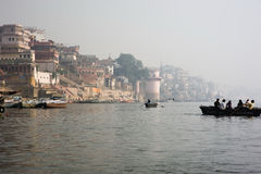 Varanasi India. Boat on the Ganges in India stock photos