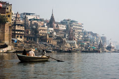 Varanasi India. Boat on the Ganges in India royalty free stock images