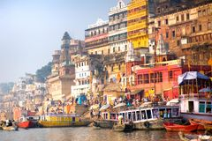 Varanasi India. Boat on the Ganges in India royalty free stock photography