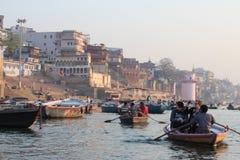 Varanasi, India. Varanasi , also known as, Benares, Banaras  or Kashi is an Indian city on the banks of the Ganga in Uttar Pradesh, 320 kilometres (200 mi) south Stock Photo