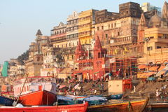Varanasi, India. Varanasi , also known as, Benares, Banaras  or Kashi is an Indian city on the banks of the Ganga in Uttar Pradesh, 320 kilometres (200 mi) south Royalty Free Stock Image