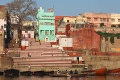 Varanasi, India. Varanasi , also known as, Benares, Banaras  or Kashi is an Indian city on the banks of the Ganga in Uttar Pradesh, 320 kilometres (200 mi) south Stock Photos
