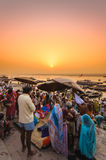 Varanasi. INDIA - APRIL 18: Crowd of local Indian live their morning life with Ganga river on April 18, 2010 in , India. The most holy river of India and Hindu Stock Photography