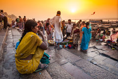 Varanasi. INDIA - APRIL 18: Crowd of local Indian live their morning life with Ganga river on April 18, 2010 in , India. The most holy river of India and Hindu Royalty Free Stock Photography