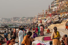Varanasi. INDIA - APRIL 18: Crowd of local Indian live their morning life with Ganga river on April 18, 2010 in , India. The most holy river of India and Hindu Royalty Free Stock Photos