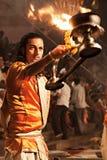 Ganga Aarti ritual. VARANASI, INDIA - APRIL 11: An unidentified Hindu priest performs religious Ganga Aarti ritual (fire puja) at Dashashwamedh Ghat on April 11 Stock Images