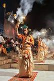 Ganga Aarti ritual. VARANASI, INDIA - APRIL 11: An unidentified Hindu priest performs religious Ganga Aarti ritual (fire puja) at Dashashwamedh Ghat on April 11 Royalty Free Stock Photography