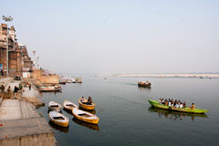 VARANASI, INDIA: Beautiful Ganges river bank view  Royalty Free Stock Photos