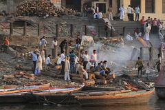 Varanasi India Cremation Stock Image