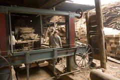 VARANASI, INDIA � DEC 7, 2015: Unidentified Indian Carpenters at Stock Photo