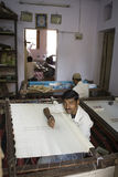 VARANASI, INDIA, DEC 9, 2013: Unidentified Indian man embroideri Royalty Free Stock Image