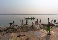 VARANASI, INDIA - December 26, 2014: Laundry in holy Ganges river, Varanasi, India Stock Images