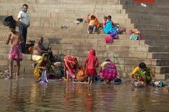 VARANASI, INDIA - December 26, 2014: Laundry in holy Ganges river, Varanasi, India Royalty Free Stock Image