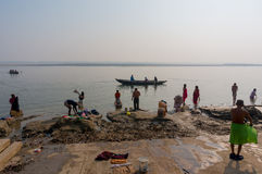 VARANASI, INDIA - December 26, 2014: Laundry in holy Ganges river, Varanasi, India Royalty Free Stock Photos